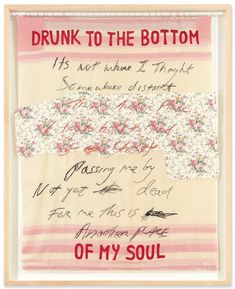 Tracey Emin, Drunk to the Bottom of My Soul, Appliqué blanket with embroidery. 76 x 63 in x 160 cm). Offered in The George Michael Collection on 14 March at Christie's London Michael Craig, George Michael, Michael Art, Women Artist, Sarah Lucas, Mary Mccartney, Marc Quinn, Bridget Riley, Hayward Gallery