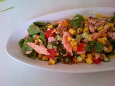 Hot smoked salmon and corn salad. Super fresh and delicious!