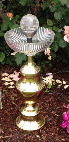 Solar powered bird bath from upcycled lamp