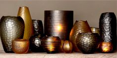 CARVED collection amber, brown glass