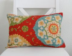 turquoise and red fabric | ... - 12x18 - suzani - red turquoise yellow and orange - designer fabric