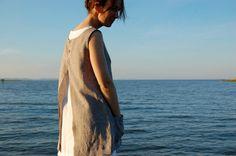 Linen Apron Dress  beige Linen Apron Dress by goodmorningmidnight
