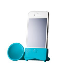 Bullhorn Speaker - Technology that's so last century. A silicone megaphone triples the sound of an iPhone—no batteries necessary. (Music to our ears.)