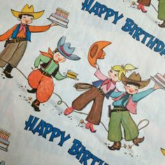 COWBOY & Girl Time Happy Birthday - Vintage Wrapping Paper Gift Wrap on Etsy, $14.00