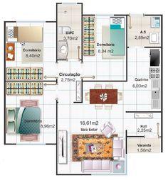 Diseño de casa pequeña tres habitaciones   Construye Hogar