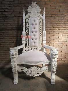 lion throne chair in gold leaf black velvet crystal buttons