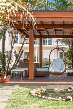 Terrace Garden Design, Backyard Patio Designs, Modern Backyard, Pergola Patio, Backyard Landscaping, Pergola With Swings, Gazebo, Backyard Renovations, Outdoor Living Rooms