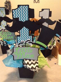 Little man mustache centerpiece.Don't forget colorful personalized napkins for… Little Man Party, Little Man Birthday, Baby 1st Birthday, 3rd Birthday Parties, Birthday Bash, Birthday Ideas, Mustache Birthday, Mustache Party, Kids Party Decorations