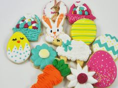 1 Dozen Assorted Easter Decorated Iced Sugar Cookies - Spring - fun - carrots -flowers -gift - Easter basket - easter bunny - eggs - lamb