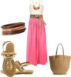 """""""High Waisted Maxi; Belted w/ Flat Sandals"""" by amyjoyful1 on Polyvore"""