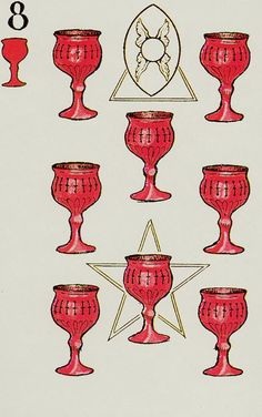 Knapp-Hall Tarot ► Seven of Cups Cartomancy, Tarot Card Decks, History Channel, New Art, Cups, Card Designs, Letters, Mugs, Card Patterns