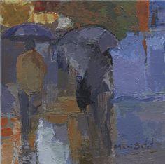https://flic.kr/p/zzBBoH | CCC Dos figuras bajo la lluvia_acrílico sobre tela 19X19 cm.