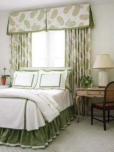 Bedroom - Valance with inverted pleats and coordinating drapes