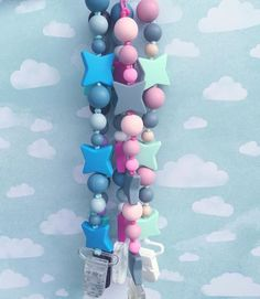Pacifier Clips Silicone Beads Shooting Star Collection, teethers, chew beads, silicone pacifier, star baby on Etsy, $18.29 CAD
