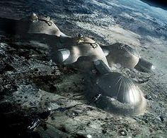 Building a lunar base with 3D printing  Multi-dome lunar base being constructed, based on the 3D printing concept. Once assembled, the inflated domes are covered with a layer of 3D-printed lunar regolith by robots to help protect the occupants against space radiation and micrometeoroids.