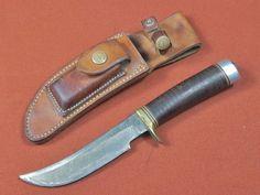Vintage 1960's US Custom Made RANDALL 4 5 Hunting Knife w/ Sheath Stone