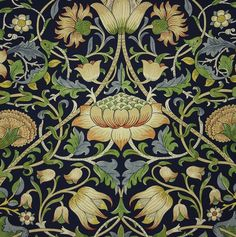 Lodden Fabric A beautiful fabric of scrolling flowers and foliage in green…
