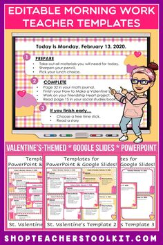 These Valentine's-themed Editable PowerPoint and Google Slides Teacher Templates include space to type the day and date, reminders of what to do when entering the classroom, as well as 'must do' and 'may do' assignments. Remind your students of their morning assignments during arrival time by displaying them on your whiteboard or SMARTBoard. #teachertemplates #morningarrivalinstructions #editable #powerpoint #googleslides #valentines
