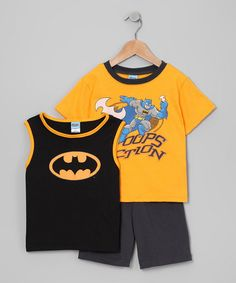Take a look at this Black Batman Tank Set - Infant, Toddler & Boys by Kids With Character on #zulily today!