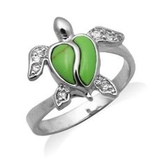 Sterling Silver Turtle Jewelry Ring with Synthetic Green Turquoise Shell and CZs Turtle Ring, Turtle Love, Green Turtle, Turquoise Rings, Green Turquoise, Jewelry Rings, Unique Jewelry, Jewlery, Jewelry Box