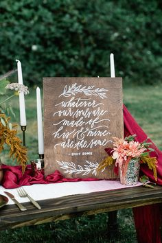 wooden wedding sign - photo by Gina Paulson Photography http://ruffledblog.com/fall-calligraphy-wedding-inspiration