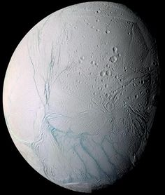Saturn's moon Enceladus taken by the Cassini spacecraft in 2009 from a close flyby.
