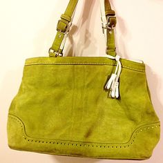 Green Suede Coach Purse Gorgeous green suede purse. A perfect carryall bag! Used only once or twice- excellent condition. Colorful, flirty, perfect accessory! Coach Bags