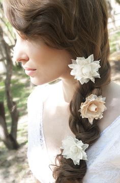 tiny silk handmade flowers for the hair. blush and white flowers perfect for the boho bride  www.etsy.com/shop/handandheritage