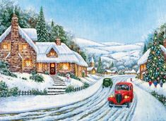 A White Christmas Christmas Scenery, Cabin Christmas, Victorian Christmas, Christmas Pictures, White Christmas, Christmas Time, Merry Christmas, Christmas Wishes, Personalised Christmas Cards