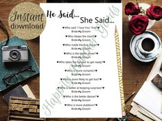 Over or Under, Bridal Shower Games, Printable Bridal Shower Games, Simple Bridal Shower Games, Weddi Printable Bridal Shower Games, Wedding Shower Games, He Said She Said, Simple Bridal Shower, Bridal Games, L Love You, Love Yourself First, Printing Services, Printables