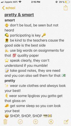 pretty and smart Glow Up Tips Pretty Smart Middle School Hacks, High School Hacks, Life Hacks For School, School Study Tips, Back To School Tips, Freshman High School Outfits, High School Makeup, Highschool Freshman, Freshman Year