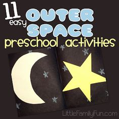 """11 fun and easy preschool activity ideas with a """"Space"""" theme. I've always wanted to do a space theme. Space Theme Preschool, Preschool Science, Preschool Lessons, Preschool Classroom, Preschool Learning, Preschool Crafts, Teaching, Fun Crafts, Toddler Learning"""