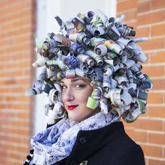 DIY Newspaper Wig - this is kind of a brilliant method for making any DIY wig, as long as you're not going for realism.