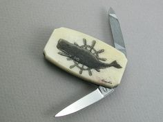 Linda Layden - Money Clip Knife with Scrimshaw Sperm Whale and Ships Wheel $49.50