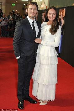 Good looking pair:He takes a prominent role in his latest film, but Sam Claflin was overshadowed by glamorous wife Laura Haddock at the premiere of My Cousin Rachel in London on Wednesday evening