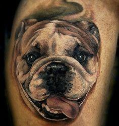 English Bulldog dogs tattoos