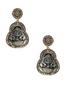 Diamond Disc & Black Mother Of Pearl Buddha Drop Earrings by Karma Jewels 4439/2200