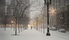 Downtown Portland, Oregon in the snow.