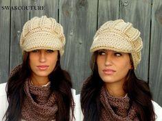Oversized Newsboy Hat Crochet Cap Women's Hat by SWAKCouture, $39.00