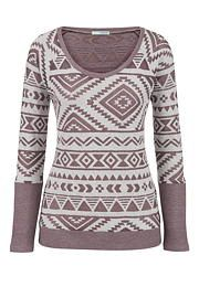 ethnic print burnout long sleeve pullover - maurices.com