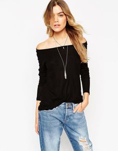 dee23a6b31b3 ASOS Top with Off Shoulder Detail in Slouchy RIb at asos.com
