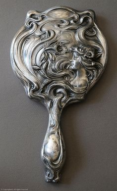 "Art Nouveau mirror marked ""Derby Silver Co., Patented June... 1900, by russwxyz"