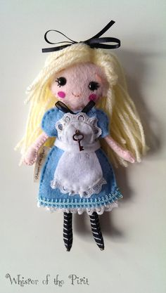 Alice in Wonderland Felt Doll with Key by WhisperOfThePipit