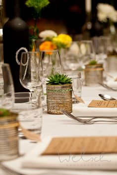 Menu, place setting, flowers, wedding, green, yellow, rustic, vintage, placecard, reception, table number, Succulents, vineyard, barn, tablescape, eclectic, centrepiece, tin, brown paper, recycled, cellar