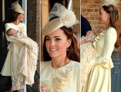Catherine, Duchess of Cambridge, aka Kate Middleton, with Prince George of Cambridge, the three-month-old prince, wearing a long christening robe in silk-satin, a replica of the gown worn by Queen Victoria's daughter in 1841. She is wearing a customized Alexander McQueen dress in cream, and the Georgie hat by Jane Taylor. 10/23/13
