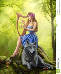 Fantasy Girl Fairy And Friend Wolf. Plays A Harp - Download From Over 63 Million High Quality Stock Photos, Images, Vectors. Sign up for FREE today. Image: 62189410