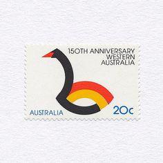 Western Australia Sesquicentenary (20c). Australia, 1979. Design: Bruce Weatherhead. #mnh #graphilately