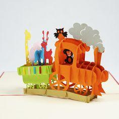 Birthday 3d laser cut handmade card/BG056-Birthday Animal Train/Kirigami art paper card/ Pop up animal handmade card Birthday Vietnam/ pop-up card vietnam manufacturer