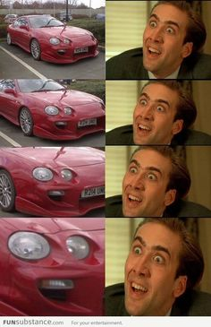 Why is this so funny?!  Because it makes the same face! (Lights on car= two eyes and mouth)