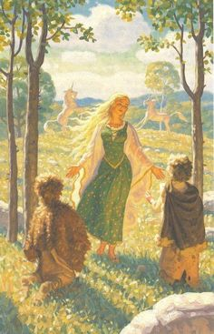 """Goldberry by The Brothers Hildebrandt  The River-daughter   her voice was beautiful, """"as young and as ancient as spring, like the song of a glad water flowing down into the night from a bright morning in the hills."""""""
